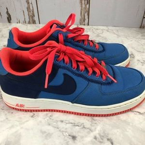 Nike Air Force 1, '82.  Size 8.5.   Blue and Coral